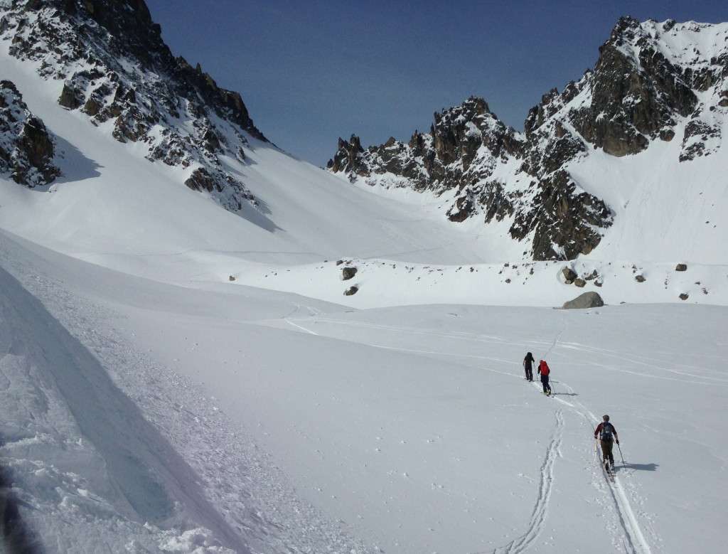 couloir on left, our objective straight ahead (photo credit: J. Chung)