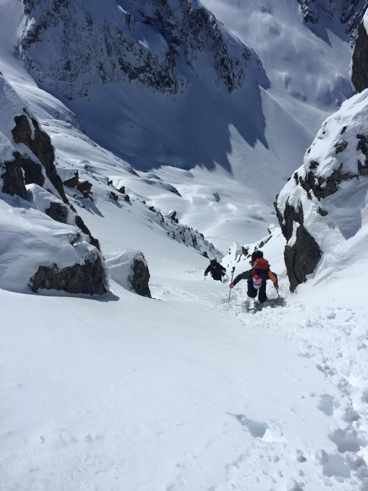 J. Chung boots up the top of the couloir (photo credit: S. Waud)