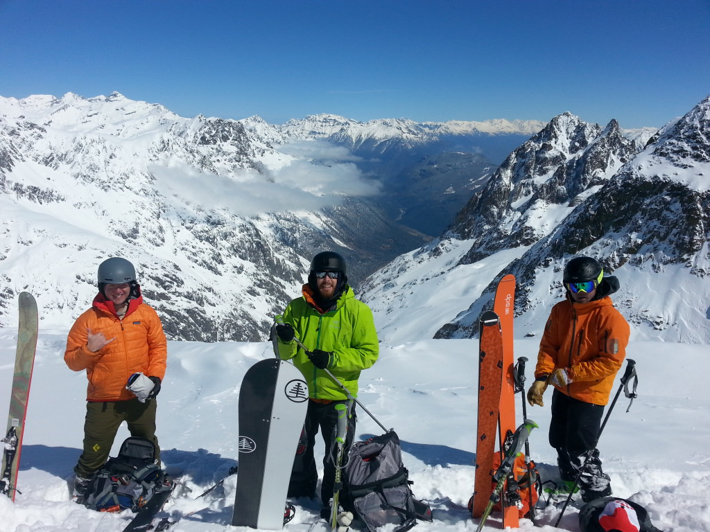 SW, RK, and JC enjoying being up high in the Aiguilles Rouges (photo credit: J. Auerbach)