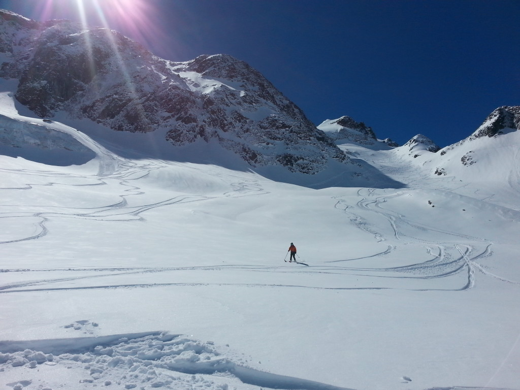 coming out the flats (skier: S. Waud; photo credit: J. Auerbach)