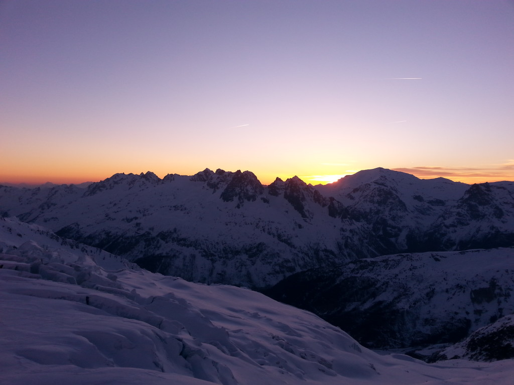 The sun setting behind the Aiguilles Rouges (photo credit: J. Auerbach)