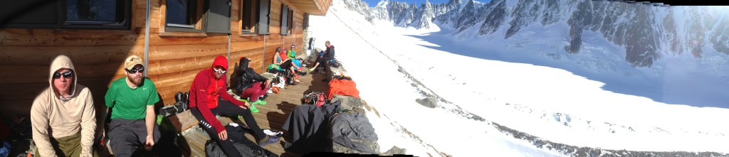 Chilling on the deck at the  Refuge d'Argentière (photo credit: J. Chung)