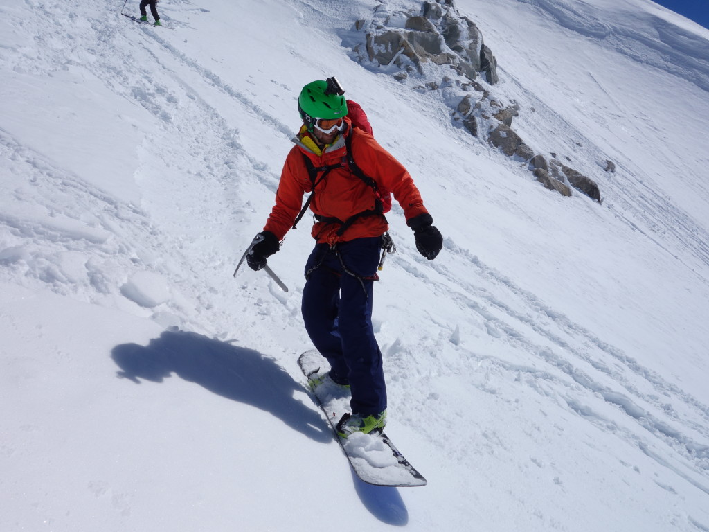 Josh at the top of the headwall (photo credit: A. Bayol)